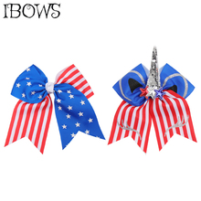 7 Inch Independence Day Cheer Bows for Girls Sequins Unicorn Hair Holder with Clips 4th of July Accessories Kids Party