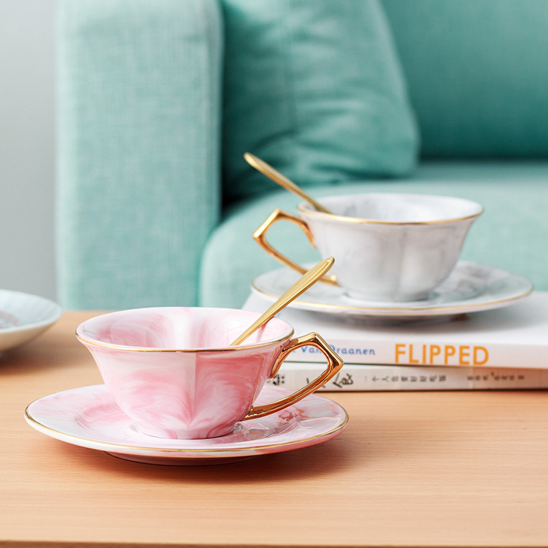 Nordic Marble <font><b>Coffee</b></font> <font><b>Cup</b></font> and Saucer <font><b>Set</b></font> Heart Shaped Glod Handle Ceramic Tea <font><b>Cup</b></font> Reusable Espresso <font><b>Cups</b></font> 120ml image