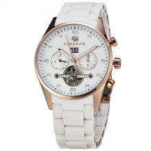 Победитель мужчины выдающийся платье механические наручные часы с турбийоном белый сплава пу ремень секундомер
