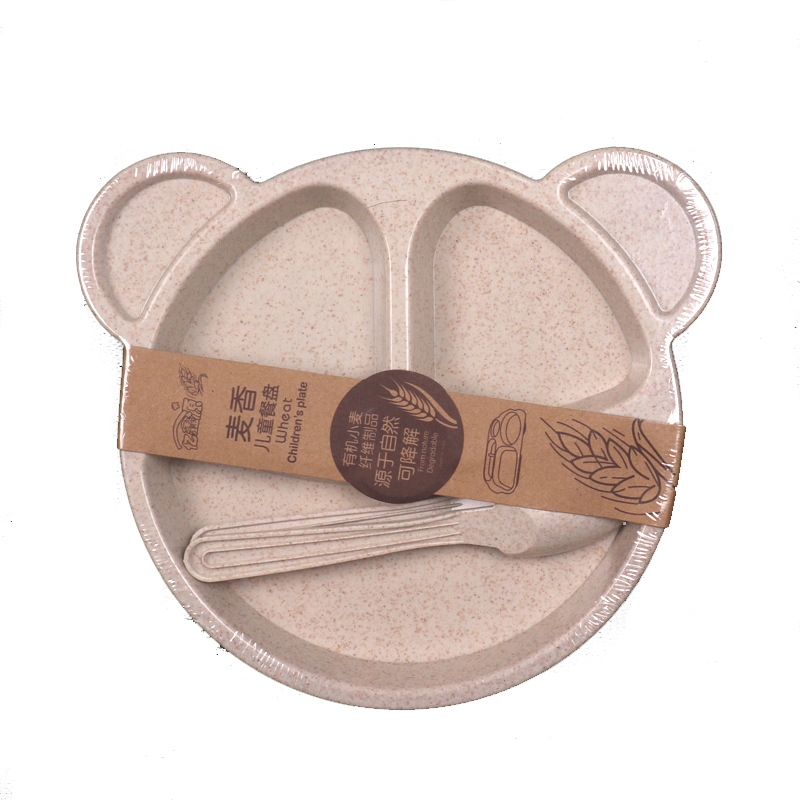 Baby Dishes Wheat Straw Children Cartoon Tableware Set Baby Dinner Plate Feeding Bowl Set OPP Packaging