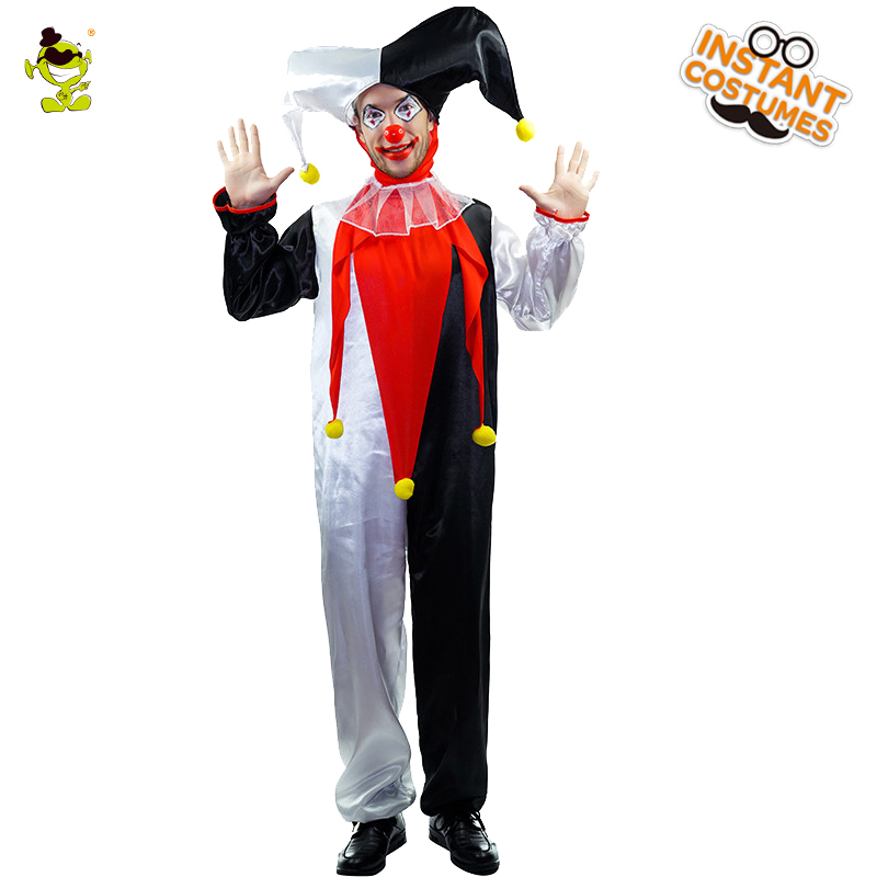 Deluxe Jingles Clown Costume Plus Adult funny the Super Joker Costume With Hat Jumpsuit Collar For Halloween Clown Role Play