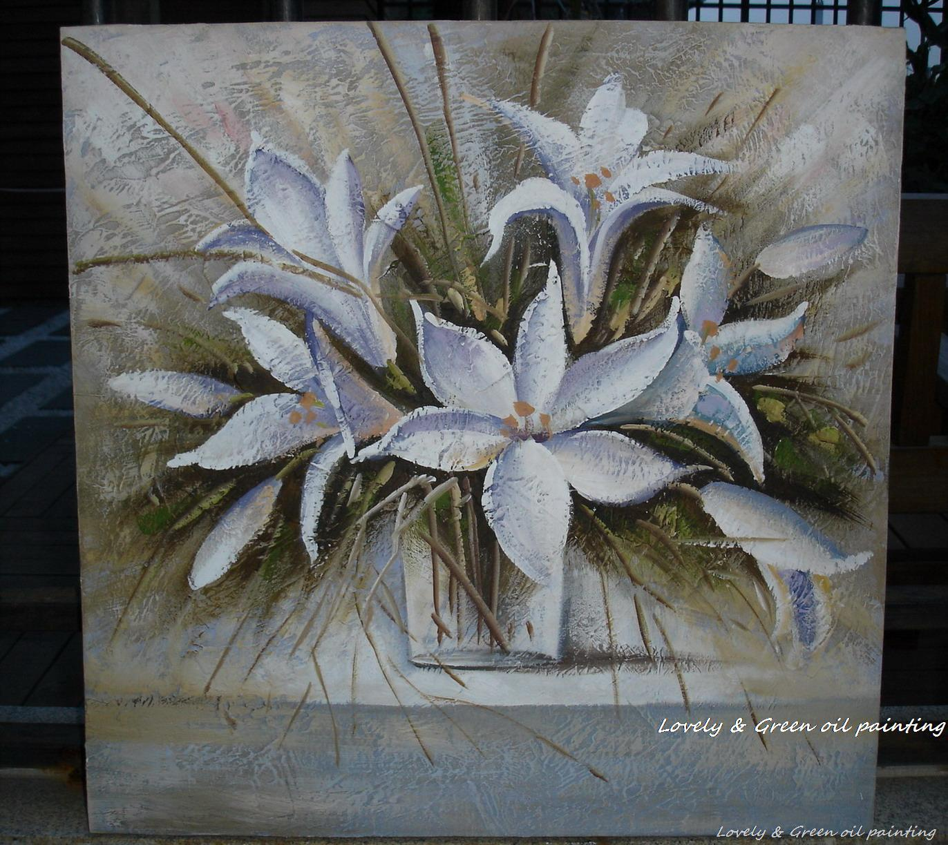 Handpainted White Flowers Modern Simple Knife Oil Paintings On
