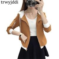 Korean BF Baseball Uniform Hooded Casual Jacket Short Stitching Zipper Women Coats Spring And Autumn Thin Mujer Tops 2018 hl545