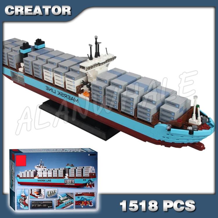 1518pcs Creator Expert Maersk Line Triple-E Freighter Cargo Ship 22002 Model Building Blocks Boys Bricks Compatible With Lego