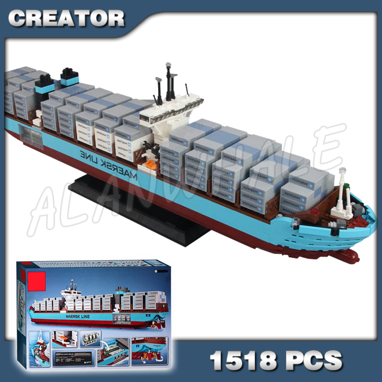 >1518pcs Creator Expert Maersk Line Triple-E Freighter Cargo Ship 22002 <font><b>Model</b></font> <font><b>Building</b></font> <font><b>Blocks</b></font> Boys Bricks Compatible with Lego