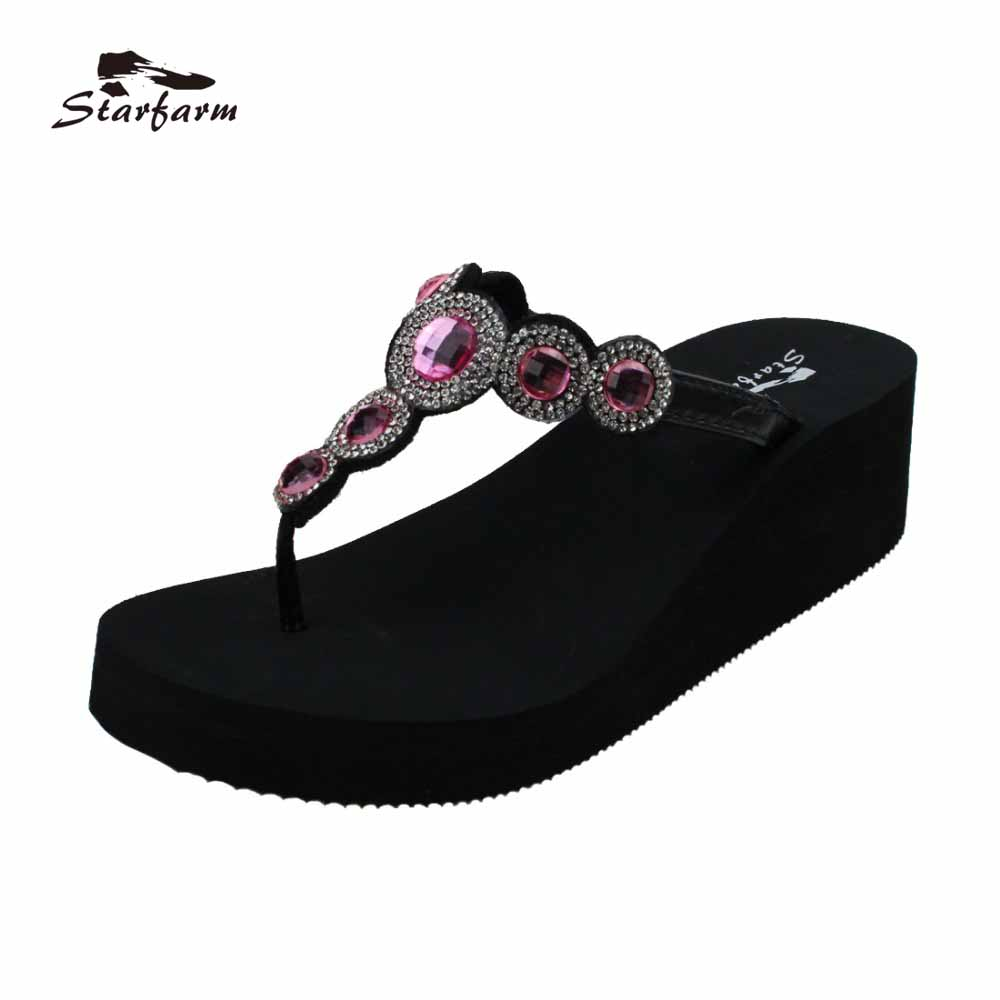 STARFARM Wedge Sandal with Hot pink Rhinestone and Beads Heeled Women Flip Flops Summer Shoes