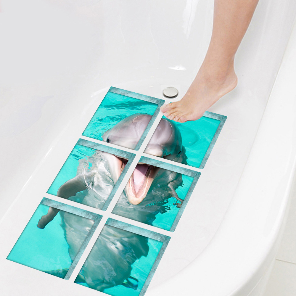 New Anti Slip Safe Dolphin Pattern Wall Sticker Decals Bathroom Bathtub Decoration Self Adhesive Mat Stickers Film Home Decor