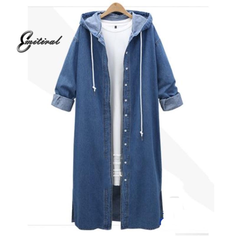 2018 Autumn Winter Oversize 4XL Ladies   Trench   Coats Hooded Long Sleeve Jean Outerwear X-Long Single Breasted Street Windbreaker