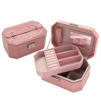 waterproof environmental women jewelry storage wooden box 2 layers multi grids portable makeup bins organizer