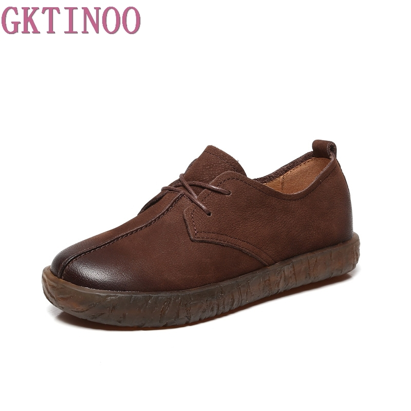 GKTINOO Genuine Leather Flat Shoe Pregnant Women Shoe Mother Driving Shoe Female Moccasins Women Flats Handmade Shoes gktinoo bow tassel loafers shoe for women handmade genuine leather soft flats autumn driving shoe round toe women flats