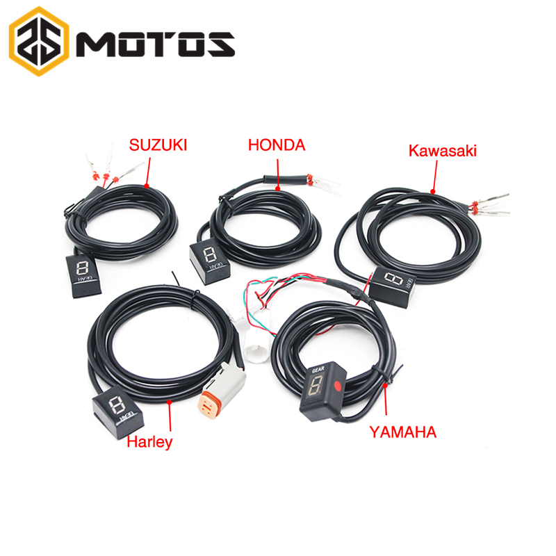 ZS MOTOS Ecu Plug Mount 6 Speed Gear Display Indicator 1 6 Level Gear Indicator Fit For Yamaha Honda Kawasaki Suzuki Harley