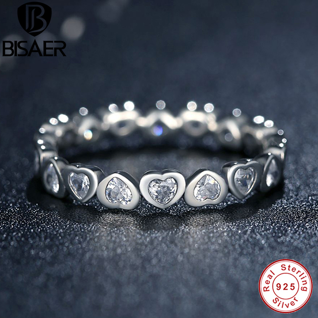 24e8b506b Authentic 100% 925 Sterling Silver Love Heart Forever More Stackable Ring  Clear CZ Compatible With