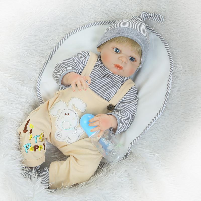 Hot 57cm Full Silicone reborn doll boy lifelike reborn baby Doll kids play house toy Lovely child birthday gift girl brinquedos
