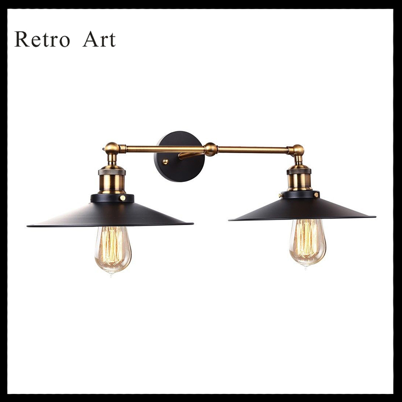 Vintage Industrial Edison Style Two Head Wall Light Cafe Bar DIY Retro Loft pendant Lamp loft style vintage pendant lamp iron industrial retro pendant lamps restaurant bar counter hanging chandeliers cafe room