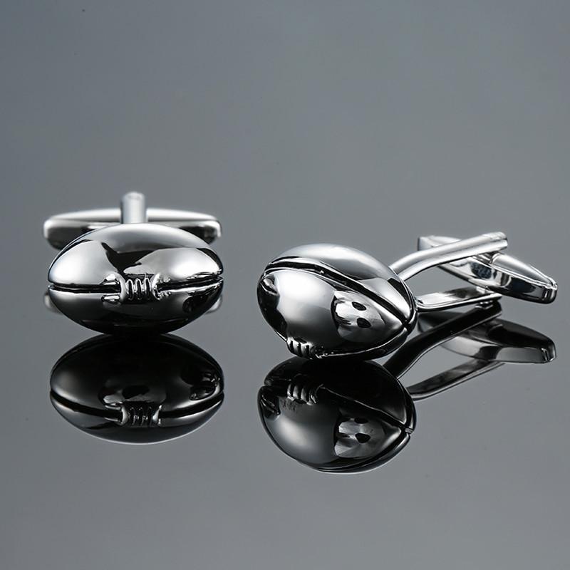 DY New high quality sports equipment design Rugby Silver Cufflinks fashion Mens French shirt Cufflinks free shipping