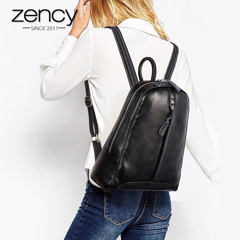 Zency 100% جلد طبيعي أزياء النساء على ظهره عارضة السفر حقيبة Preppy نمط الفتاة المدرسية الدفتري المحمول الحقيبة-في حقائب الظهر من حقائب وأمتعة على  مجموعة 2