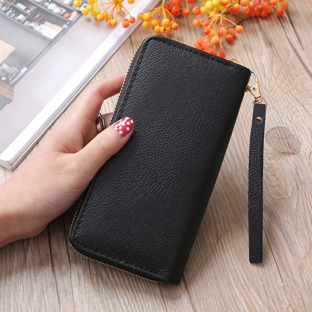 Quality Fashion Leather Wallet For Female Women Wallet Purse Money Lichee Pattern Road Coin Bag Purse Phone Holder Tote