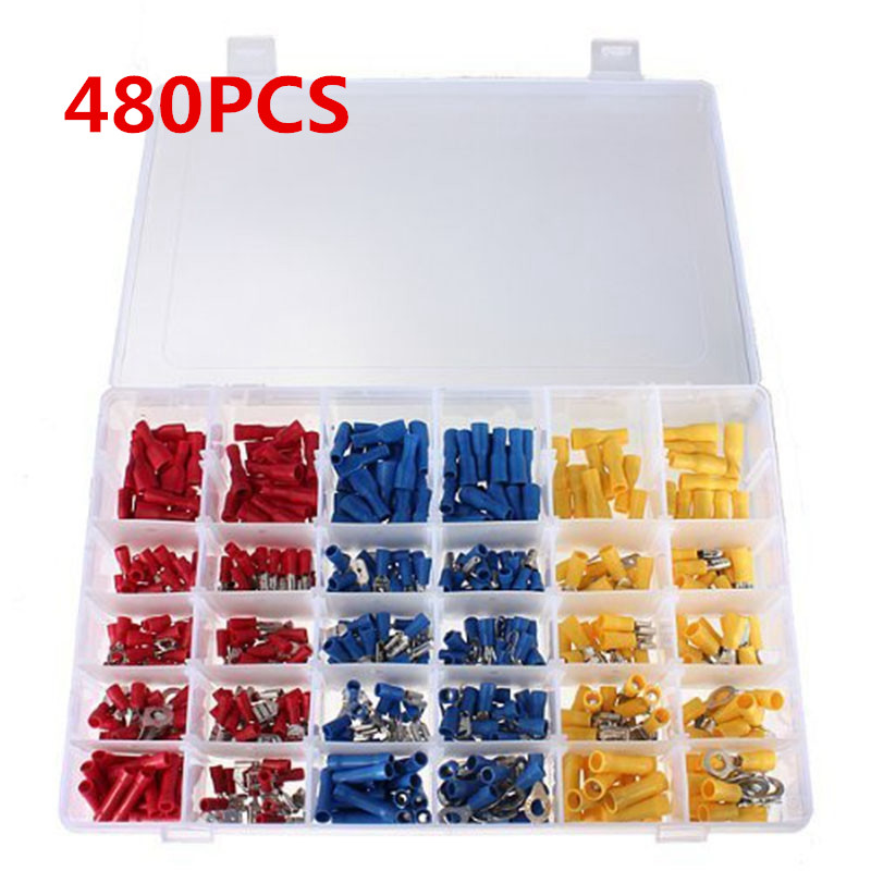 Mayitr 480pcs Insulated Terminal Connector Electrical Wire Assorted Crimp Terminal Butt Spade Ring Set Kit Red/Yellow/Blue 480pcs insulated heat shrink electrical connectors assorted crimp terminals ring butt kit red yellow blue