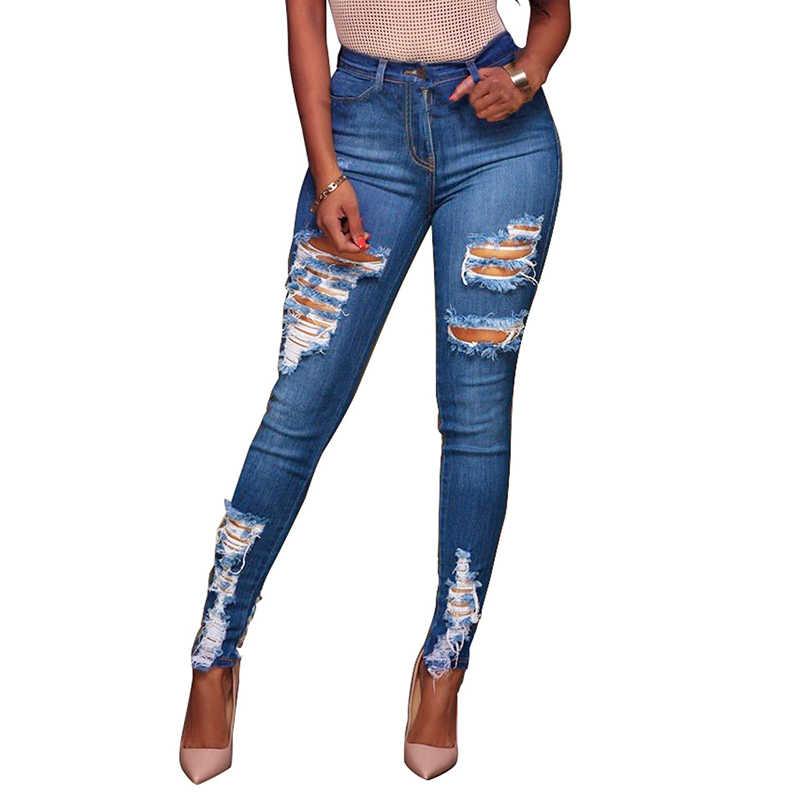 Pantalones Vaqueros Rasgados Para Mujer Vaqueros Desgastados Con Realce Con Agujeros Rotos Diseno De Talla Grande Pantalones Vaqueros Aliexpress