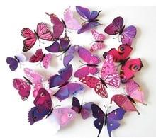 2016 New 12pcs/pack 3D Butterfly Wall Stickers Butterflies Decal  Art DIY Decorations Paper