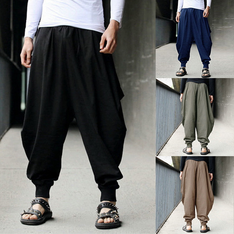 Loose Pants Trousers Male Wide-Leg Men's Joggers Streetwear Hip-Hop Dance Casual Fashion