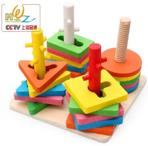 Montessori mainan permainan kayu 4 sets columm pilar pencocokan warna bentuk kotak kayu blok bayi kereta belajar alat gratis pengiriman