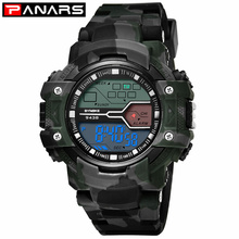 PANARS New Arrival Digital Watch Men #8217 s Outdoor Sports Watches Camouflage Military Watches Digital LED Waterproof Wrist Watches cheap Digital Wristwatches Plastic Buckle 5Bar Stop Watch Back Light Shock Resistant Repeater Water Resistant None Alarm Week Display