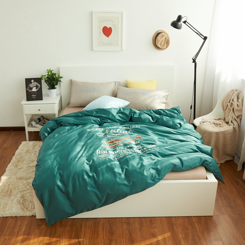 100 Cotton Plane Bedding Set Bed Sheet Green Duvet Cover Embroidered Queen King Comforter Sets