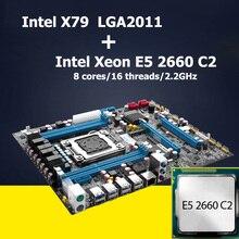 Huanan carte mère cpu ensemble intel x79 carte mère avec cpu xeon e5 2660 C2 LGA 2011 révision 2.47 4 canaux support RAM REG ECC