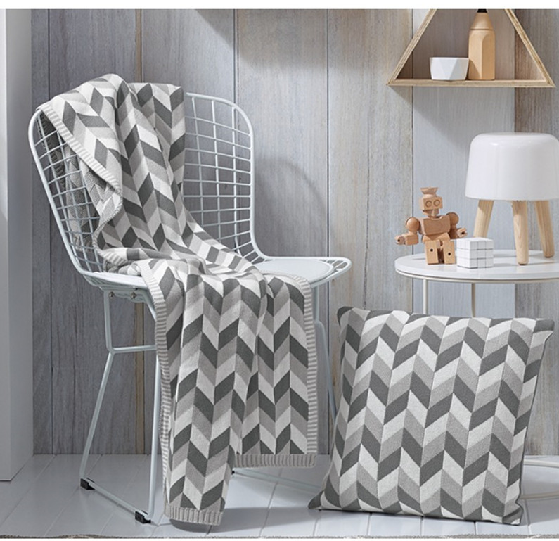 Gray Wave Knitted Blanket Sleep Wish Plaids Bedspreads Sofa Travel Blankets Bedding on Sofa/Bed/Car Portable Throws No Pillowcas