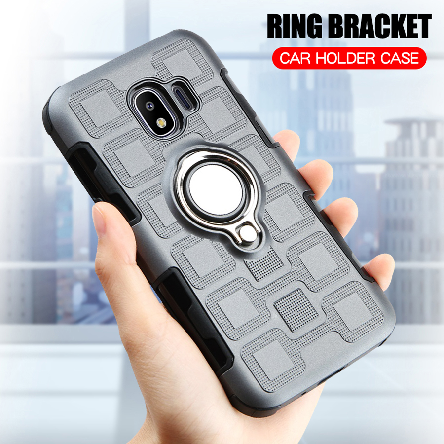 Cover For Samsung Galaxy J2 2018 Silicone Shockproof Phone Case For Samsung J2 Pro 2018 J250F Armor Back Cover Ring Stand Case