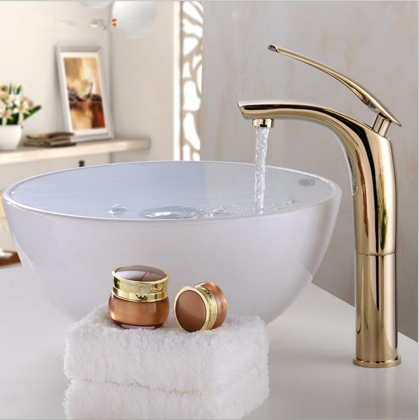 Brass Gold/Chrome/White/Black/Red basin Faucet Fashion 5 Colors Hot and Cold Water Sink Mixer Tap White tap Bathroom Basin mixer bathroom brass water automatically sense faucet basin mixer hot and cold tap modern design high quality