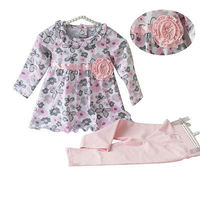 Toddler Baby Girl Clothes Set Pink Floral T Shirt Butterfly Long Sleeve T Shirt Girl Bow