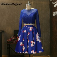 Royal Blue Cocktail Dresses 2017 Burgundy Cheap Short A Line With Lace Long Sleeve Cocktail Party