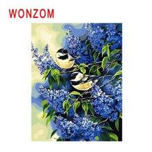 WONZOM Purple Flower Painting By Numbers Abstract Animal Oil Bird Cuadros Decoracion Acrylic Paint On Canvas Modern Art