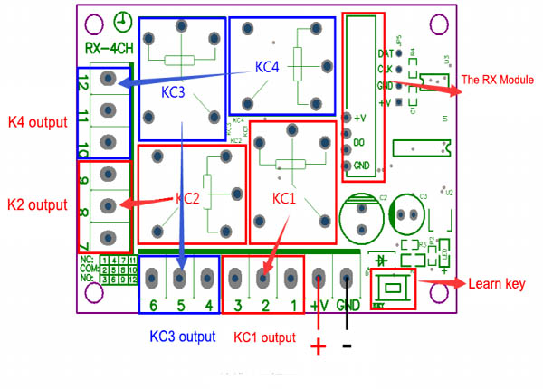 Wireless 4 channel RF Remote Control Switch DC12V 4CH relay ... on