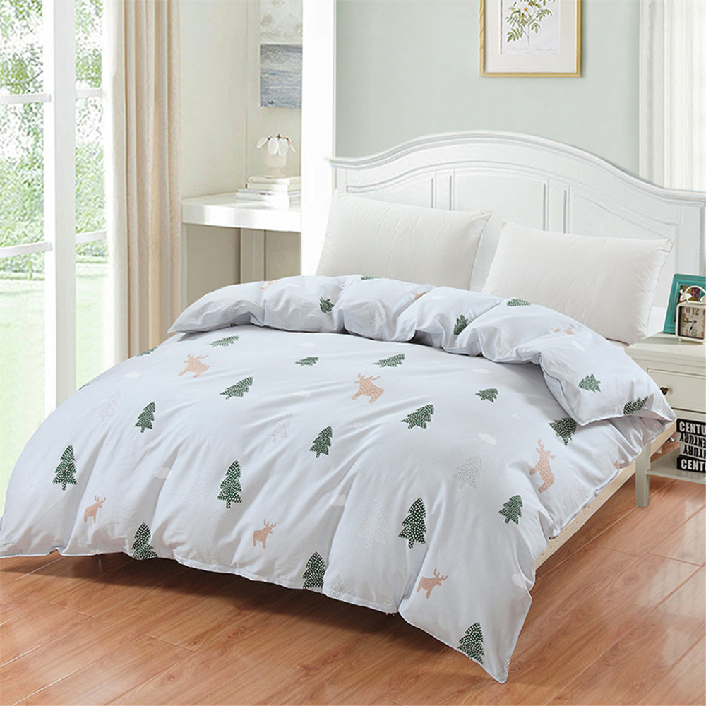Silver Duvet Cover Us 19 2 40 Off Christmas Tree Deer Silver Duvet Cover 100 Cotton Green Cartoon Bedding Twin Queen King Size Duvet Cover Plant Kid Gift Fashion In