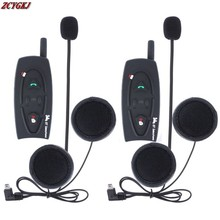 2 pcs V2 Motorcycle interphone intercomunicadores de motos Bluetooth Helmet Headset Intercom for 2 Riders