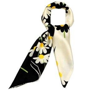 Image 5 - Papatya çiçek baskılı kare ipek eşarp kadınlar için 90*90% 100% İpek dimi eşarp Bandana başörtüsü kadın eşarp ve sarar şal el haddelenmiş