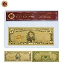 WR фестиваль сувенирные подарки 5 долларов 24k 999,9 Позолоченные мировые бумажные деньги уникальные подарки Usd 5 мир поддельные деньги с пвх рам...