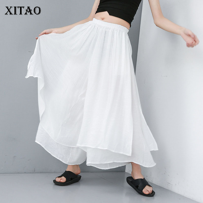 XITAO Irregular Personality Plus Size Pants Elastic Waist Thin Summer Clothes For Women 2019 New Casual  Wide Leg Pants XJ1609