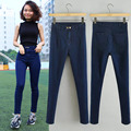 Fashion Spring & Autumn Women's Double Buckles High Waist Jeans Slim All-match Elastic Pencil Skinny Jeans