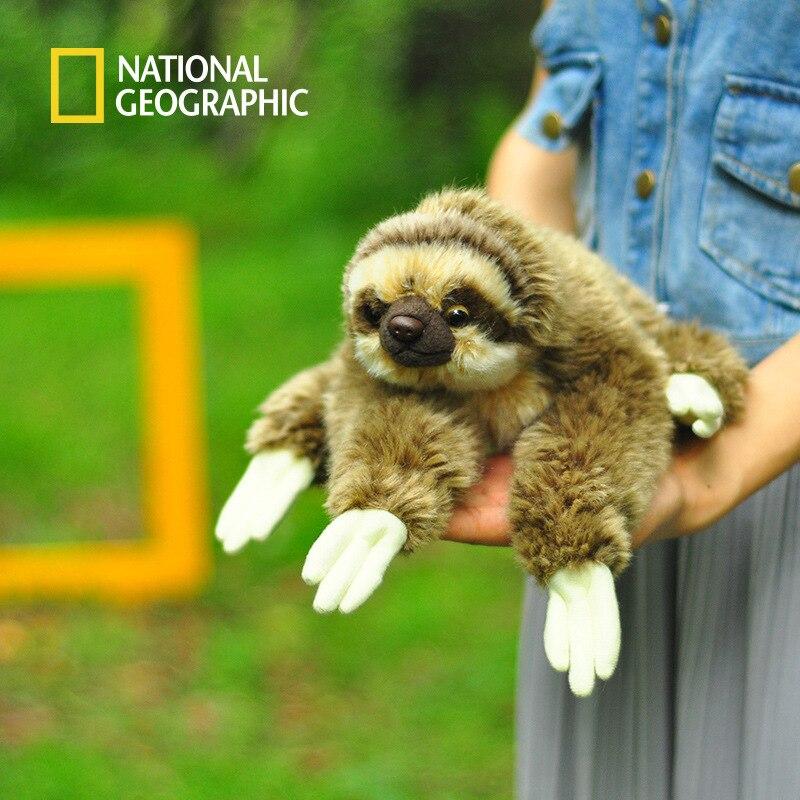 National Geographic 33 cm Kawaii Couché paresseux à Trois doigts Jouets En Peluche Doux Animal De Simulation Jouets Paresseux En Peluche Poupées De Noël cadeaux