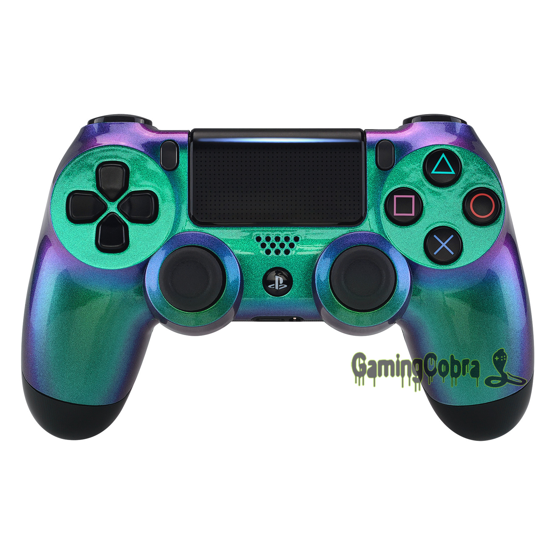 Green Purple Chameleon Front Housing <font><b>Shell</b></font> Faceplate for PlayStation 4 PS4 Slim PS4 Pro Controller <font><b>JDM</b></font>-040/050/<font><b>055</b></font> - SP4FP12 image
