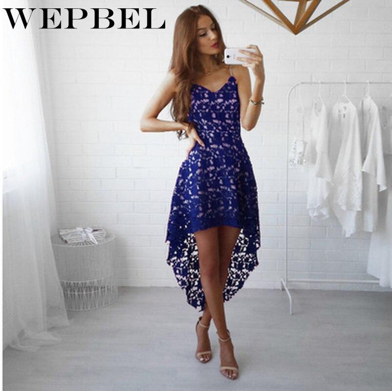 WEPBEL 女性のセクシーな V ネックノースリーブレースドレスパーティードレス