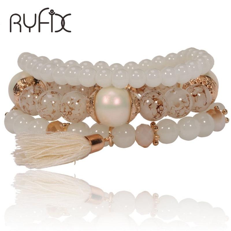 2018 Fashion Women Bohemia ivory white Beads with Tassel Bracelet Trendy Charm Bracelets Women Jewelry Accessories SL05