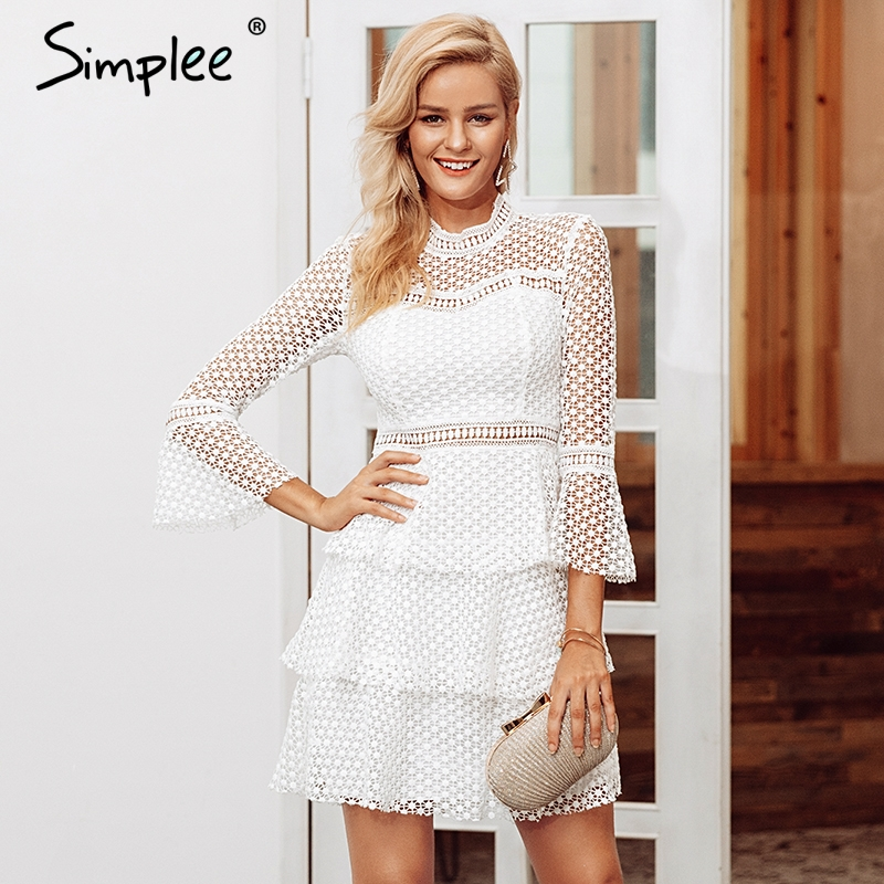 dab948e422ec Simplee Elegant Lace hollow out sexy bodycon women dresses Ruffle flare  sleeve mesh dress winter Vintage