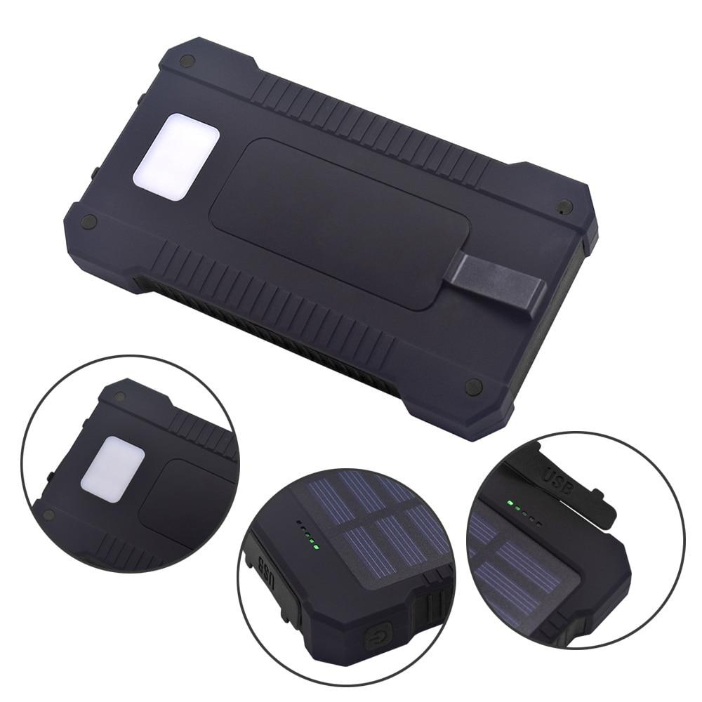 2018 New Portable Waterproof Solar 20000mAh Dual-USB Solar Battery Power Bank for All Phone Universal Batteries