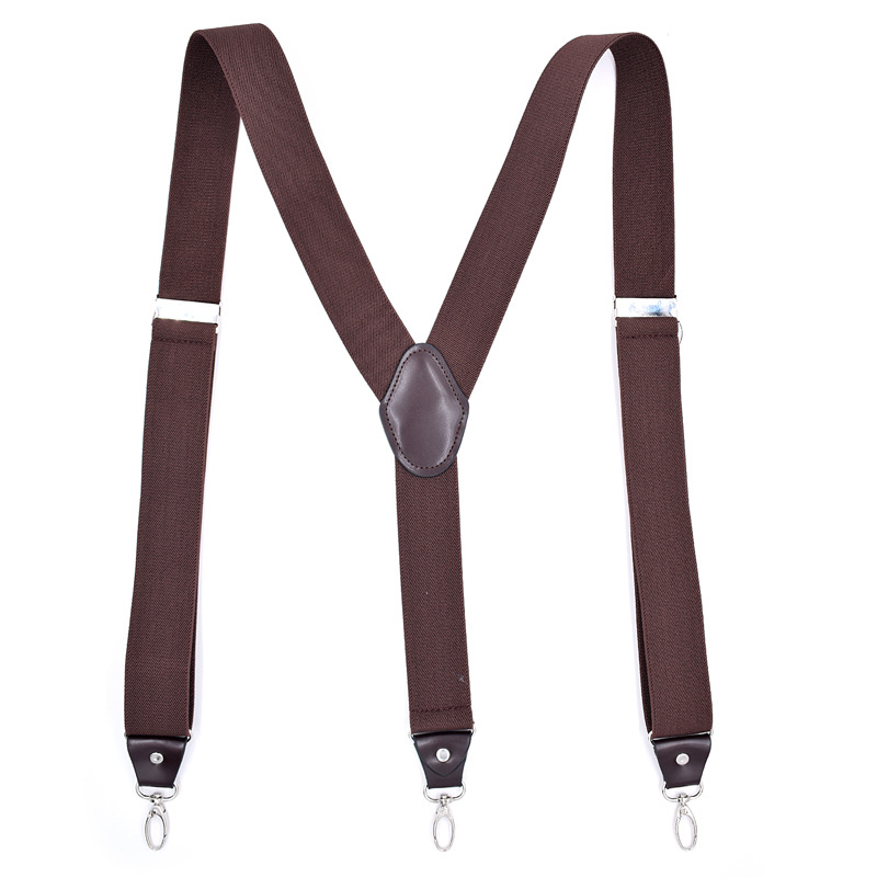 Man's Suspenders Fashion Braces Strong Hook Suspenders Trousers Suspensorio Elastic Strap 3.5*120cm CRBD3C0111-1