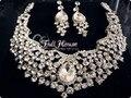 Promoção de venda Tl074 Teardrop checa cristal nupcial do casamento conjuntos de jóias africano conjunto gargantilha colar brincos frete grátis